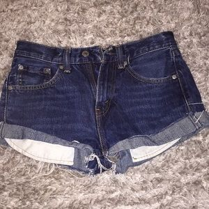 Levi's 505 cut off distressed jean shorts
